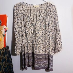 anthropologie floral v neck blouse